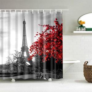 Dafield Bathroom Accessories Shower Curtain Vintage Paris Tower Butterfly Design Retro Bathroom Accessories Home Decoration