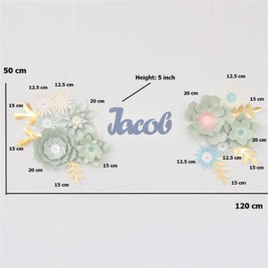 DIY Paper Flowers Set Name Sign Kit Nursery Wall Decoration Baby Shower Backdrop Girls Nursery Wall Flower Decor Fleur Drop Ship