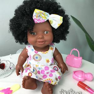 아프리카 움직일 수있는 공동 크리스마스 최고의 선물을 위해 아기 블랙 장난감 미니 귀여운 폭발 헤어 스타일 인형 어린 소녀 C0924