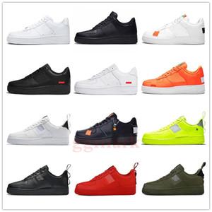 Nueva 1 diseñador del Mens zapatillas de plataforma baja Zapatos Casual Fuerzas Negro Blanco Apenas University Naranja Rojo Utilitarios Volt Mujeres Deporte aéreo Formadores