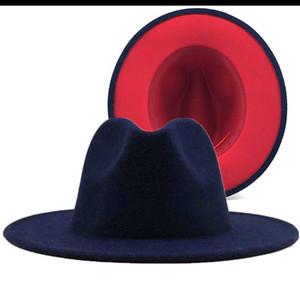 Armada sencilla con rojo de lana inferior remiendo Panamá Jazz fieltro sombrero de ala de las mujeres de los hombres de ala ancha del partido del vaquero del sombrero flexible Gambler Sombrero
