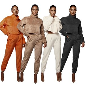 Sonbahar Kadınlar Tracksuits Moda Katı Renk Kadife Standı Yaka Uzun Kollu Kadınlar İki Adet Koşu Suits Yeni Bayan Tasarımcılar Giyim