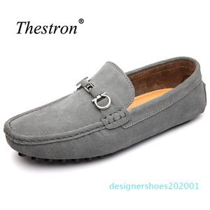 i2018 Big Size Shoes Men Slip on Genuine Leather Shoes Cow Suede Mens Loafers Rubber Driving Men d01