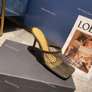 MONMOIRA Винтаж площади Toe Stretch Насосы Женщины Золотая цепь Luxe высоких каблуках обувь Женщины Air Mesh дизайн Женщины с обувь