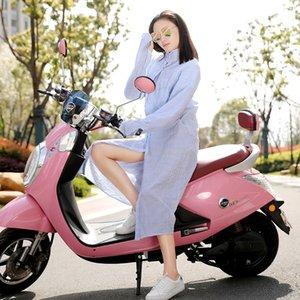 qZ46a Verão listrado roupas de proteção solar segurança elé motocicleta xale casaco Mid-comprimento solar da Mulher andando algodão Motorcycle UV Cl a4IwT