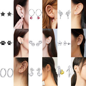 WOSTU 20 types Authentic 925 Sterling Silver Stackable Daisy Stud Earrings For Woman Clear CZ Floral Flower Earring Jewelry