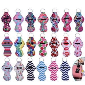 Hand Sanitizer Holder Neoprene Keychains Chapstick Holder Lipstick Holders Lip Cover Handbag Keychain Printing Chapstick Holder GWD1007
