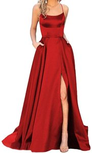 Sexy Spaghetti Women's Satin Long Burgundy Prom Dresses with Pockets straps Red Evening Dress Sweep Train