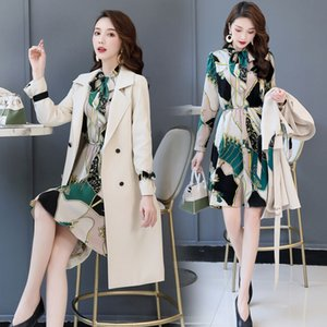 Spring Autumn Trench Coat Slim Ladies Trench Coat Women Dress Women Windbreakers Plus Size Two Pieces Sets Coats