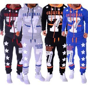 ZOGAA Yeni Moda Spor Erkek Jogger Seti 2 Adet Eşofman Takımı Casual Baskılı Kapşonlu Sweatshirt Ve Pantolon Eşofman Erkekler