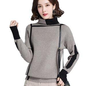 Geometric line design Turtleneck Pullover Sweater women 2020 Autumn Winter jumper pull femme hiver Knitwear knitted sweater
