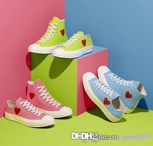 Novos 1970 Big Love Olhos Jogar Chuck 70 Coração 70 Hi 3s Canvas Shoes Skate Shoe azul verde rosa lona clássico Conjuntamente Nome skate Casual