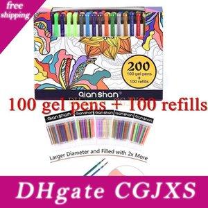 Novo Design 200gel Canetas Set 100refills 100colored Pens Glitter Metallic mágico Pastel Desenho clássico Pintura para adulto Coloring Book