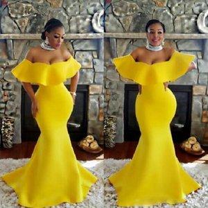 2021 Hombro Vestidos fiesta sirena de los vestidos de noche Arabia Saudita Sur de África las mujeres del vestido de partido formal