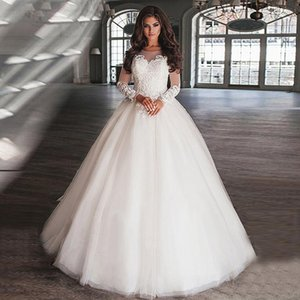 Classic O-Neck Illusion Longn Sleeve Appliques with Beaded Wedding Dresses Custom Made Tulle Bridal Gowns Vestidos De Noiva