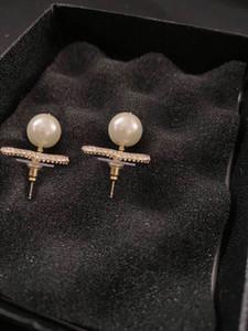 Moda Hoop Pearl Gold Stud Orecchini Aretes Orecchini per le donne Party Wedding Engagement Amanti regalo gioielli con scatola ha il timbro
