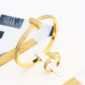 Europäische und amerikanische Art und Weise breite Version der doppelten Reihe von Zirkon Armbänder Schmuck Frauen Armbänder Ringe t gefrorenen heraus Armband