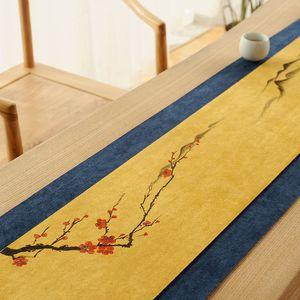 Ручной росписью водонепроницаемого чая Мат Deer Velvet белье Zen ткань Таблица Runner чай Ткань Чайного стола Полотенце Скатерть Mat
