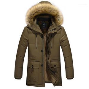 Dark Color Long Sleeve Thick Mens Designer Parkas With Zipper Pockets Winter Coats Hooded Fleece Winter Mens Down Warmth
