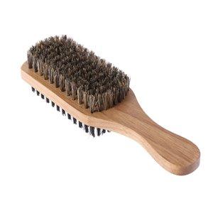 Herren Doppel-Side antistatische Haarbürste Holzgriff Massage Gesichts Beard Styling