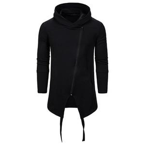 E-baihui 2020 Automne Nouveau mode noir pour hommes Slim Chandail en molleton, irrégulière Col haut à manches longues pour hommes Pull 12101314XH04