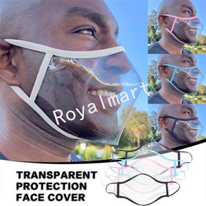 Transparent Mask Lip Anti-polvere trasparente Visiera Black Cotton maschere Visibile Mask Designer per sordomuto