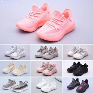 Adidas Yeezy 350 V2 생일 선물 2020 최고 품질 어린이 실행 신발 소년과 소녀 노란색 코어 블랙 어린이 스포츠 운동화 아기