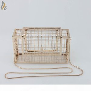 Designer-Metal Frame Cage Bag Brand Designer Hollow Out Metallic Evening Bags Encrusted Clutch Cutout Handbag Case Purse - L8303