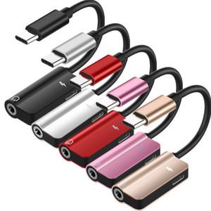 2 en 1 adaptador OTG Tipo C para el adaptador audio Tipo C a 3,5 mm AUX Toma de auriculares de carga del convertidor del divisor de cable para Huawei Samsung letv PC