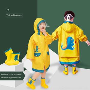 G6iPE Pupil capa de chuva casaco poncho menino engrenagem engrenagem da chuva schoolbag crianças dinossauro com Schoolbag chuva bebê menina grande criança criança do jardim de infância