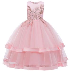 Blumenkind Hochzeit Partei Bridesmaid Kind langen wulstigen Kleid Mädchen Prinzessin Weihnachtsfeier Ball Kommunion Kleid bestickt