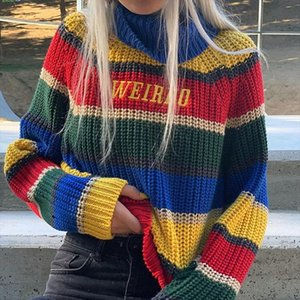 Harjuku Contrast Stripes Roll Turtle Neck Knitted Jumper Turtleneck Sweater with Embroidery WEIRDO Oversized Top For Women