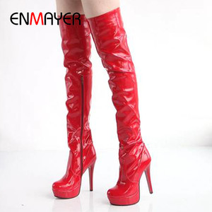 ENMAYER Nightclub Pole Dance Over The Knee Stage Performance Patent Leather High Boots Women's Boots Stiletto Platform boots 201103