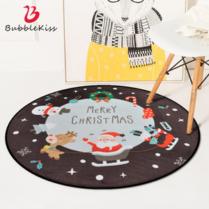 Bubble Kiss Christmas Round Carpet Cartoon Santa Claus Pattern Rug Living Room Festival Decoration bedroom Non-Slip Area Carpet