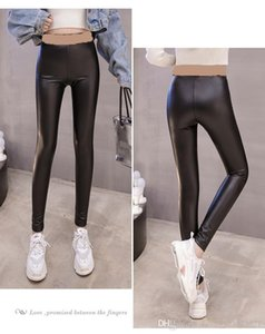 2020 new women's autumn winter letter print bandage elastic waist bodycon tunic PU leather long pants leggings tights