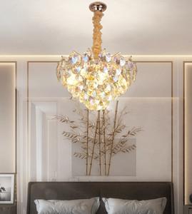 Novo estilo europeu luz luxo led colorido cristal candelabro quarto luxo pingente luzes sala de estar sala de jantar lâmpada pingente