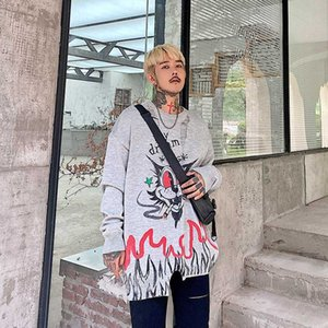 UNCLEDONJM Graffiti Tricoté Pull oversize Hommes Automne Hiver 2020 O-cou à manches longues Pull Streetwear Pull AD-2090