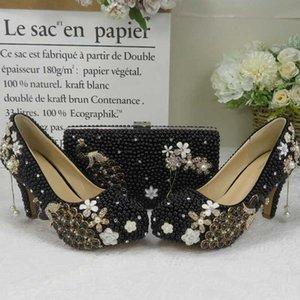 BaoYaFang perles de perle noire des chaussures des femmes de mariage et sacs dames mettre des chaussures habillées partie paon de la mode féminine Pompes haute