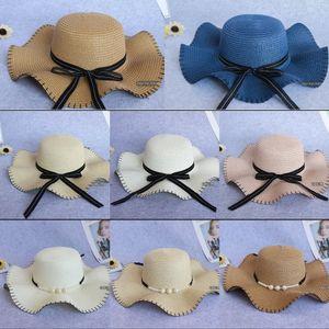 Toque alan kenar Kadın vizör döşenme dalga güneş Straw güneş şapkası şapka (da kap Koreli dış turizm şerit paragraf saman yan 1dBAB