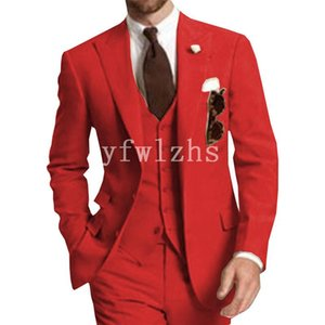 Handsome Two Buttons Groomsmen Peak Lapel Groom Tuxedos Mens Wedding Dress Man Jacket Blazer Prom Dinner suits (Jacket+Pants+Tie+Vest) W336
