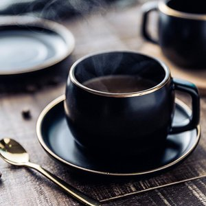 Porcelana e Black Steel 304 Coffee Muzity Cup Set Tea Saucer Com inoxidável pigmentado Ceramic homes2011 Cup Colher pyzxC