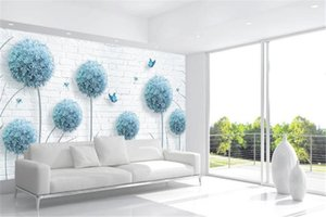 Wholesale 3d Wallpaper Nordic minimalistic dandelion hand-painted floral background wall beautifully decorated wall paper
