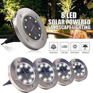 IP65 Waterproof 8 LED Solar Outdoor Ground Lamp Landscape Lawn Yard Stair Underground Buried Night Light Home Garden Decoration DHC3989