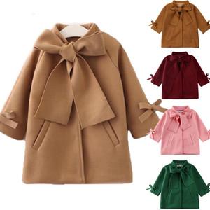 Girls lace-up Bow tie woolen coat autumn winter children Wool Warm Overcoat kids bows long sleeve long coat A4120