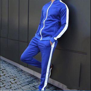 4 colors Blue color Casual Men Set Fashion Letter Pattern Mens Sportwear Tracksuit Long Sleeve Hoodies Drawstring Long Pant Suit Male