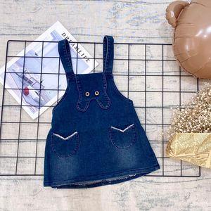 Summer baby girl sling skirt sweet lady one-piece dress 70% cotton cute cartoon pocket denim skirt suspenders