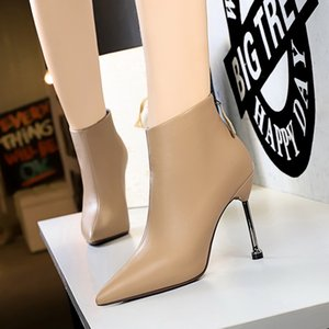 2021 Women Ankle Boots Elegant Office Lady Autumn Winter Genuine Leather Shoes Woman Cross-Tied Thick Heels Zip Boots