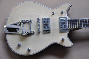 Factory Custom Natural wood Color Electric Guitar with Chrome Hardwares,Tremolo System,Rosewood Fretboard,Can be Customized