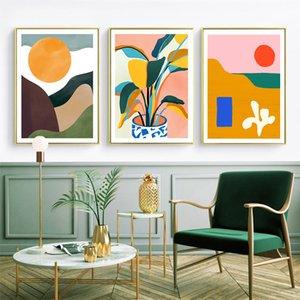 Modern Renkli Soyut Geometrik Wall Art Canvas Resim Güneş Posterler Boyama ve Baskılar Galeri Çocuk Mutfak Ev Dekorasyonu