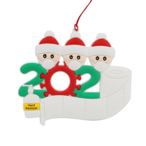 Christmas Ornament Personalized Survivor Family 2 3 4 5 6 7 Resin Decorations Masked Hand-washed Christmas Tree Hanging Pendant AAB2013